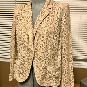 CHICO'S khaki lace blazer with sequined trim